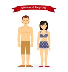 Endomorph body type woman and man vector