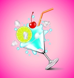 Flying blue lagoon cocktail on pink background vector image vector image