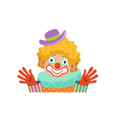 funny circus clown showing his hands avatar of vector image vector image