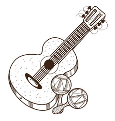 guitar maracas outline of a summer theme vector image