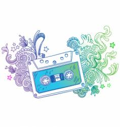 hand drawn audio cassette vector image vector image
