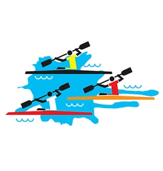 Kayaking competition vector image