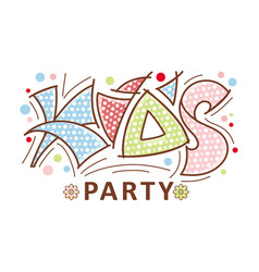 Kids party logo hand grawn lettering vector