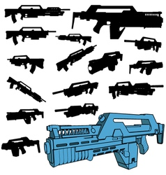 machine gun silhouettes vector image vector image