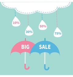 Monsoon season offer two umbrella set cloud with vector