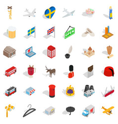 much money icons set isometric style vector image
