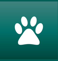 Paw print icon on green background dog cat bear vector