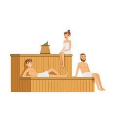 People wearing towels relaxing in sauna steam room vector