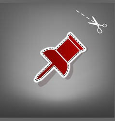 Pin push sign red icon with for applique vector