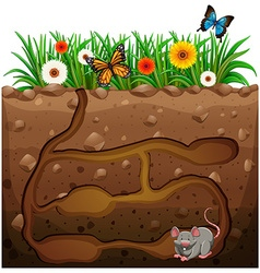 Rat hole under the garden vector image vector image