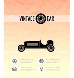 Retro sport racing car vintage outline style vector image