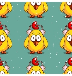 Seamless pattern chick in earmuffs vector