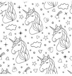 Seamless pattern of hand drawn unicorns vector