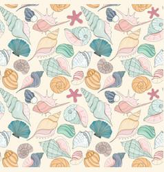 seashell seamless pattern vector image