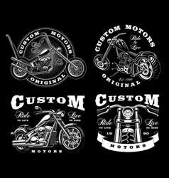 Set of 4 vintage biker on dark background 3 vector