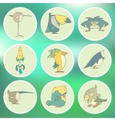 Set of hand drawn retro cartoon birds on vector image