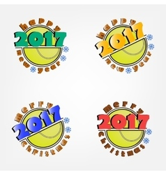 set of tennis and New Year vector image vector image