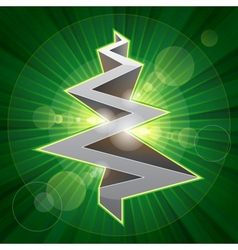 Shining metal christmas tree vector