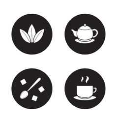 Tea items simple icons set vector image vector image
