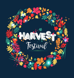 Text harvest festival in paper style on multicolor vector