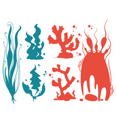 Underwater plants and corals silhouettes vector
