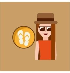 vacation woman flip flops summer vector image