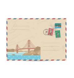 Vintage postal envelope with stamps vector