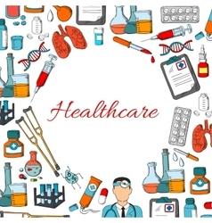 Healthcare poster of medicine items vector