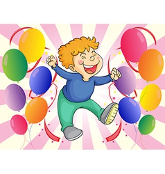 A boy jumping with balloons at his side vector image