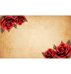 Retro background with beautiful red rose and old vector image