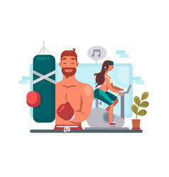 Man and woman training in gym vector