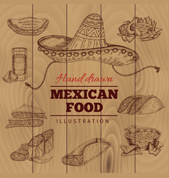 Mexican food hand drawn vector