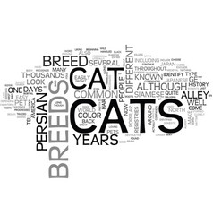 A look at cat breeds text word cloud concept vector