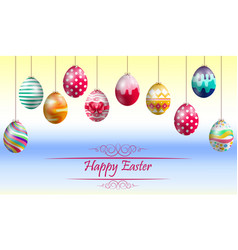 Easter eggs on yellow blue background vector