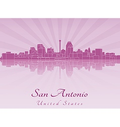 San antonio skyline in purple radiant orchid vector