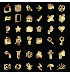 3d gold icons set vector image