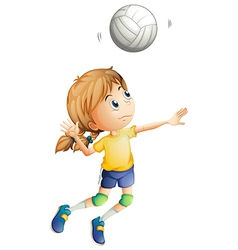 A young woman playing volleyball vector image