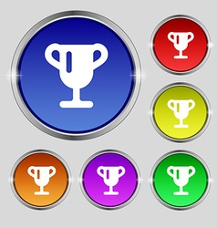 Winner cup awarding of winners trophy icon sign vector