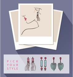 Beautiful woman wearing earrings mock up with vector
