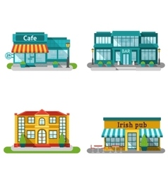 Cafe buildings flat set vector