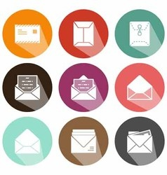 Solid envelope icons shadow vector