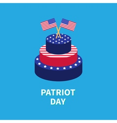 Cake with two star and strip flags patriot day vector