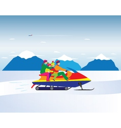 Happy family on a snowmobile in the mountains vector