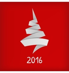 Stylized origami christmas tree on red background vector