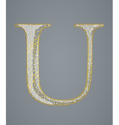 Abstract golden letter U vector image
