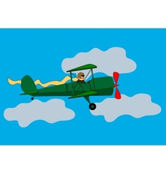 aircraft flying in the clouds vector image vector image