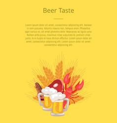 Beer taste poster with pints of beers snacks ham vector