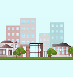 buildings houses village architecture modern flat vector image vector image
