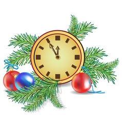 Christmas tree and clock vector