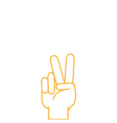 color line hand with peace and love gesture symbol vector image